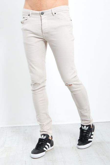 Stone Frayed Knee Skinny Jeans
