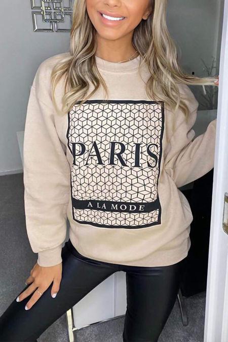 Plus Size Stone Paris Printed Sweatshirt