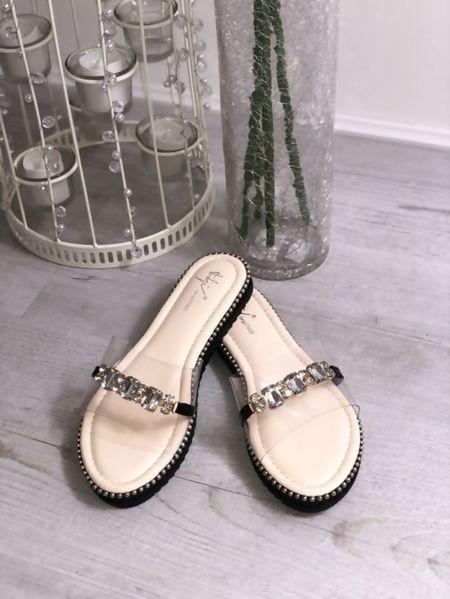 Stud sole Diamante Strap Perspex Sandals