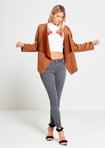 Suede Short Open Draped Cardigan