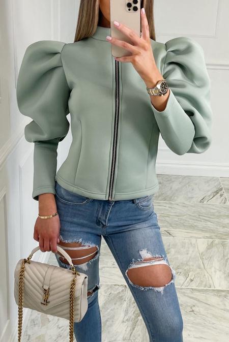 Sage Puff Sleeve Zip Up Jacket