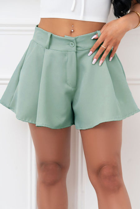 Sage Wide Hem Tailored Shorts