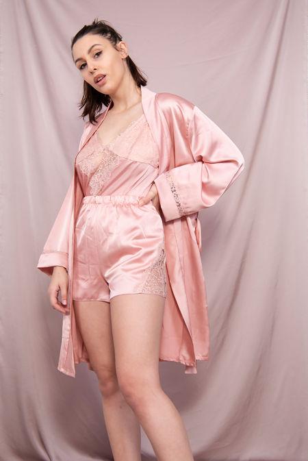 Satin Lace Trim 3 Piece Pyjama Set