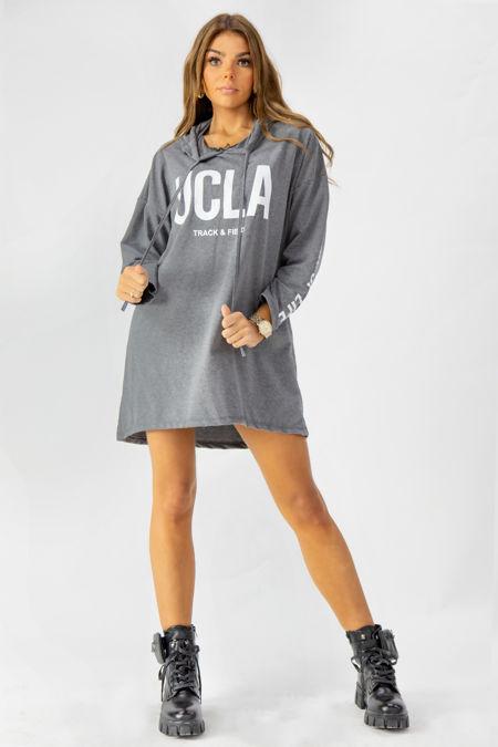 Slogan Print Oversized Hoodie Dress