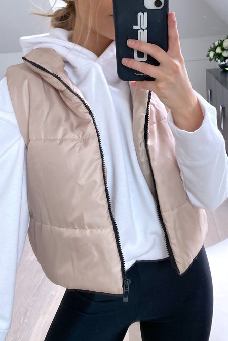 Stone Cropped Puffer Gilet