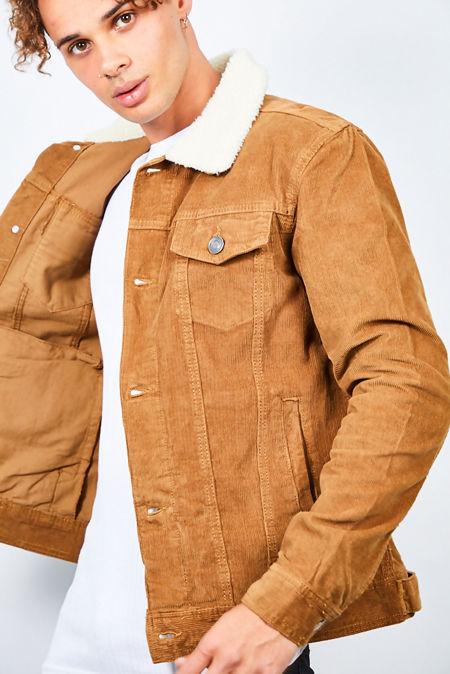 Tan Contrast Borg Collar Cord Jacket