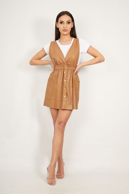 Tan Over the Top Pu Pinafore Dress