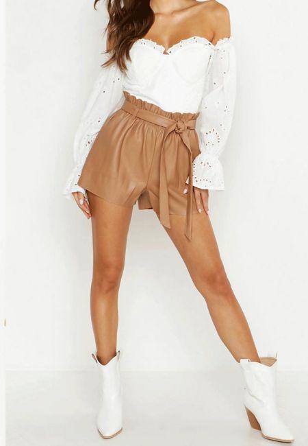 Tan PU High Waist Paper Bag Shorts