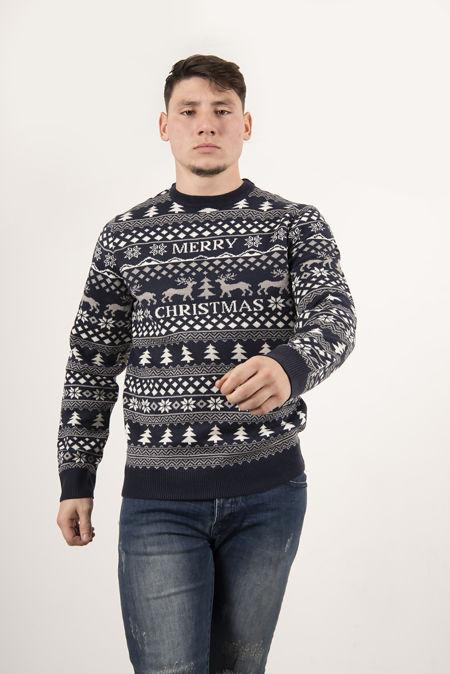 Navy Snowflake Merry Alavus Christmas Jumper
