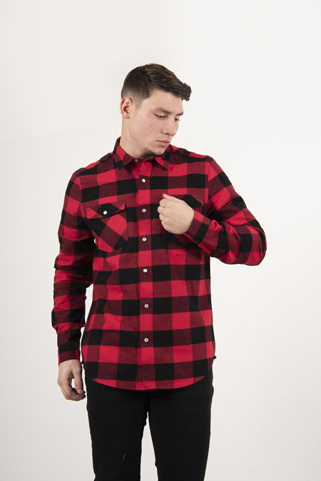 Red Teo Cotton Long Sleeve Check Shirt