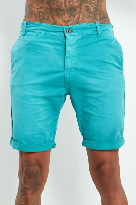 Teal White Faded Shorts