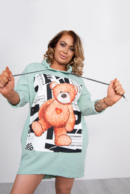 Teddy Bear Hooded Sweat Jumper Dress