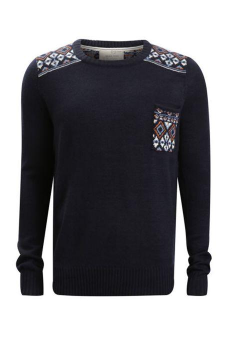Navy Diamond Print Knitted Jumper