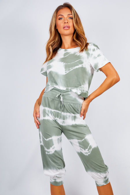 Tie Dye Crop Top And Harem Trouser Set
