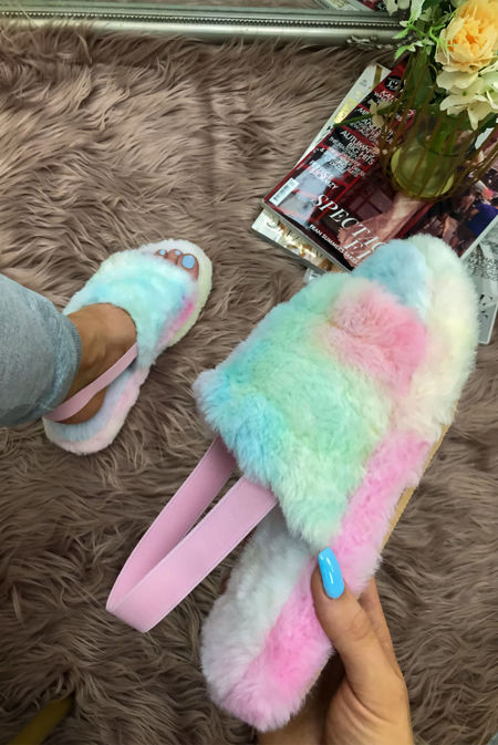 Tie Dye Faux Fur Fluffy Stripe Slipper