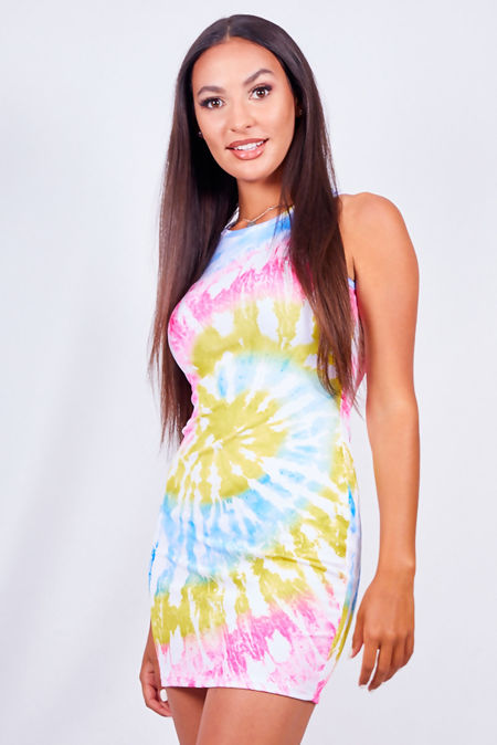 Tie Dye Racer Rib Bodycon Dress