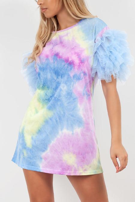 Tie Dye Tulle Sleeve T-shirt Dress