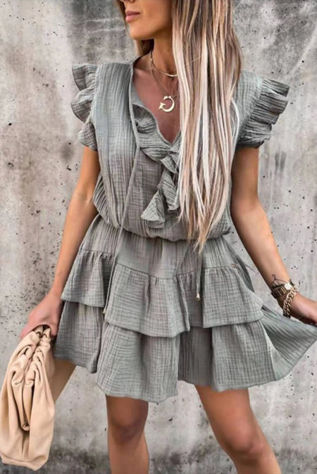 Tie Neck Linen Tiered Ruffle Dress