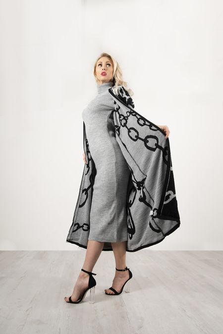 Grey Roll Neck Rib Midi Dress With Contrast Chain Cardigan