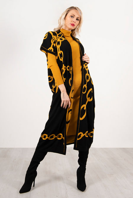Mustard Roll Neck Rib Midi Dress With Contrast Chain Cardigan