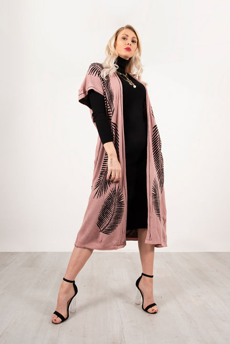 Pink Roll Neck Rib Midi Dress With Contrast Print Cardigan