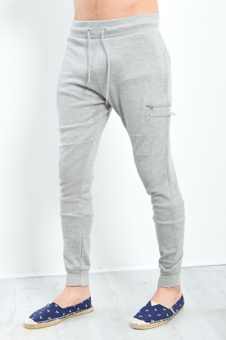 Grey Ripped Knee Zipper Jogging Bottom