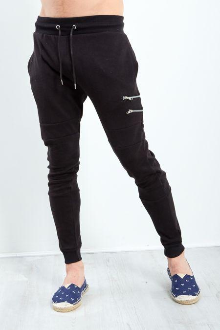 Black Ripped Knee Zipper Jogging Bottom