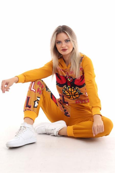 Mustard Atlanta Hawks Printed Hooded Loungewear