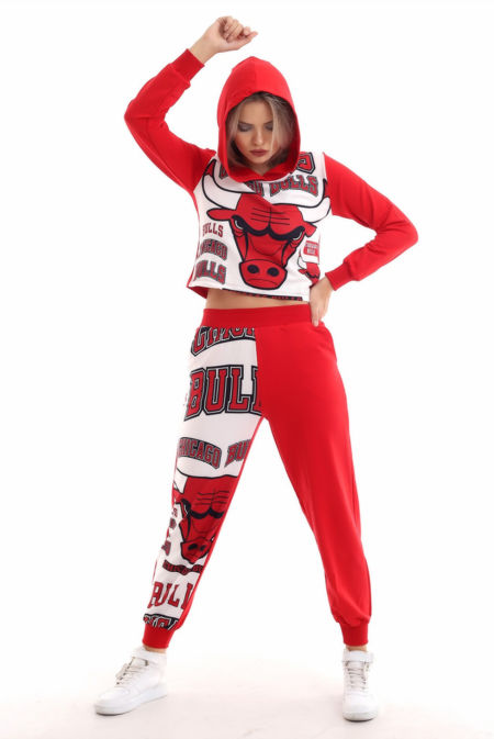 Red Chicago Bulls Hooded Loungewear Set PreOrder