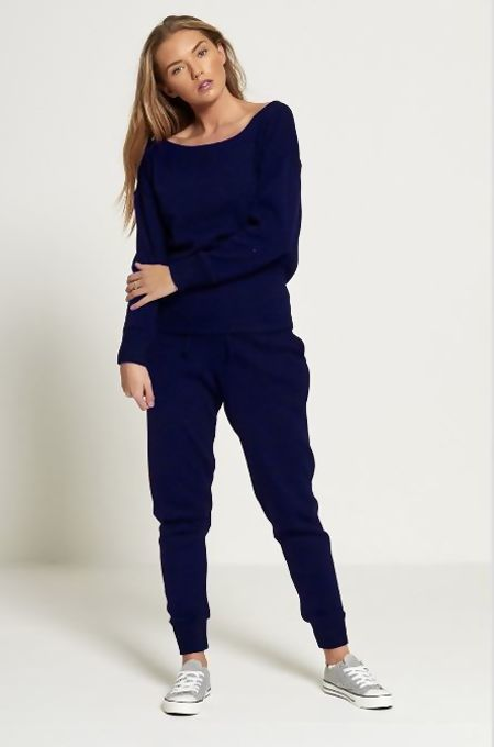 Plus Navy Lounge Wear Knitted Set