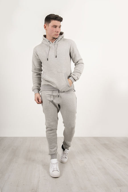 Grey Block Hem Zipper Pullover Tracksuit