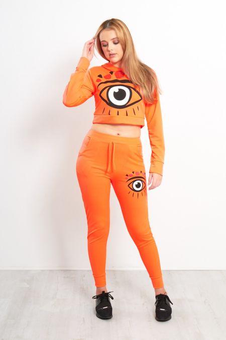 Neon Orange Graphic Eyes Print Tracksuit