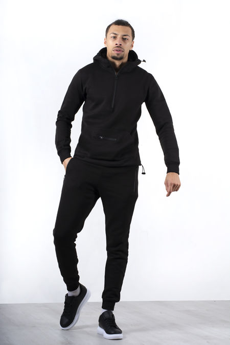 Black Half Zip Pullover Tracksuit