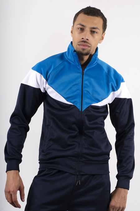 Navy Funnel Tracksuit With Colourblock Panel Detail