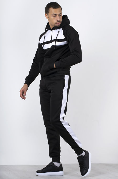 Black With White Front Panel Half Zip Hooded Tracksuit