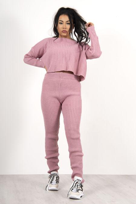 Pink Crop Batwing Boxy Rib Knit Lounge Set
