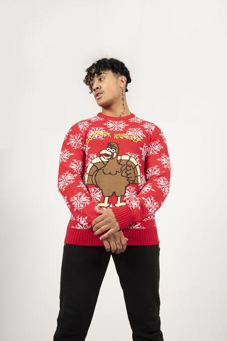 Red Turkey Slogan Christmas Jumper