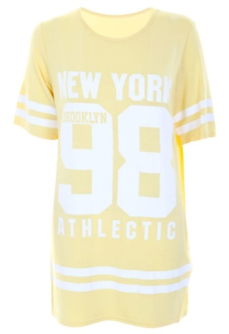 Plus Size Yellow New York 98 Oversize T-Shirt