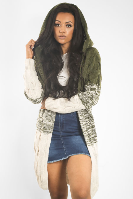 Twisted Tricot Knitted Hood Cardigan
