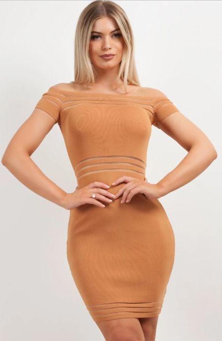 Tan Mesh Cut Out Bandage Mini Dress