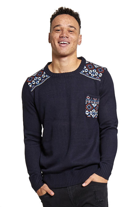 Navy Diamond Print Knitted Jumper