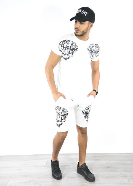 White Tiger Logo Shorts and Tee Set