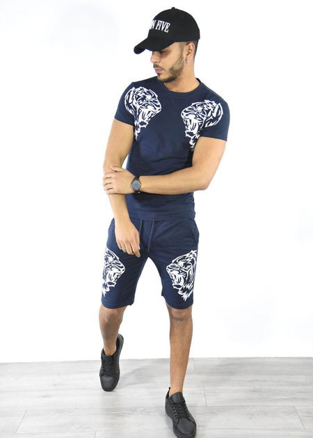 Navy Tiger Logo Shorts and Tee Set