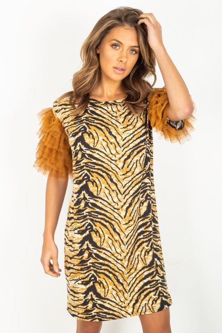 Tulle Sleeve Tiger Print Dress