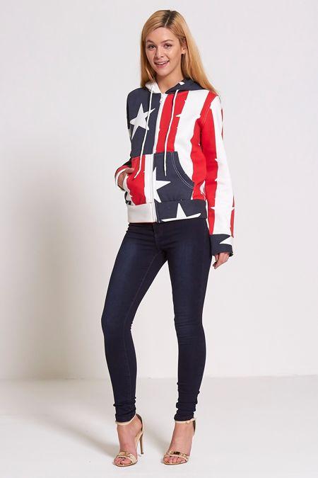 USA Flag Printed Hoodie Jacket