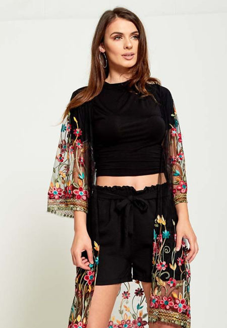 Black Lace Mesh Embroidered Cardigan