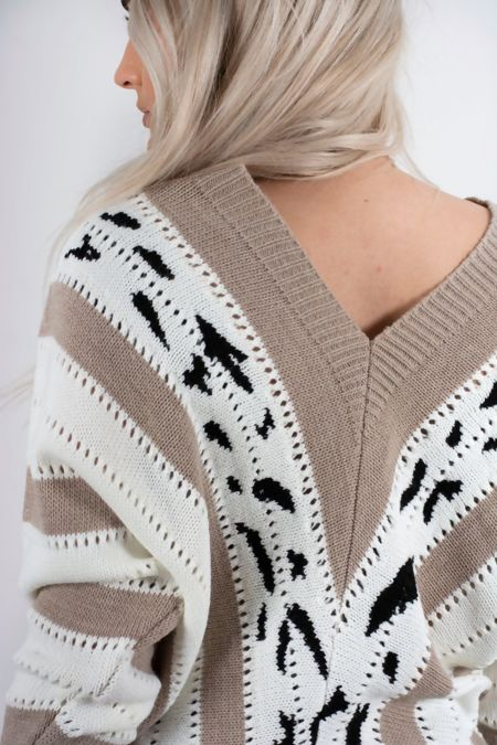 Mocha V Neck Vintage Striped Long Sleeve Knit Jumper
