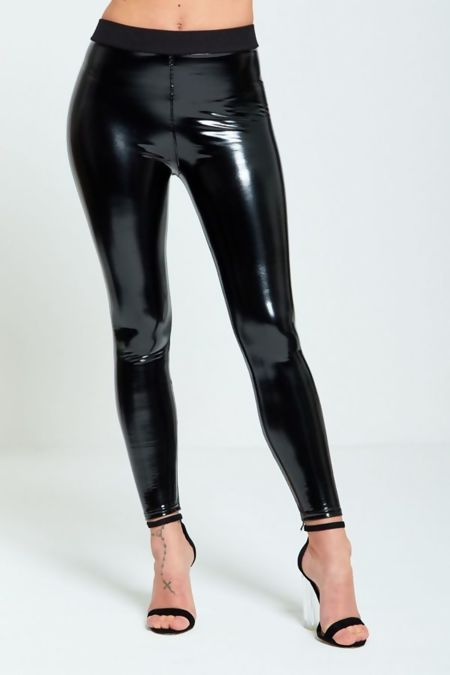 Vinyl Wet Look Black Skinny Legging
