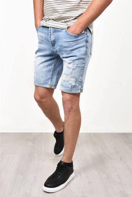 Washed Denim Distressed Turn Up Hem Shorts