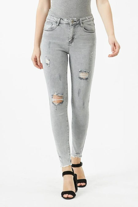 Washed Grey Rip Distressed Skinny Jeans